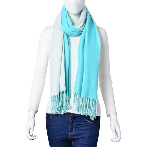Turquoise Green and White Colour Reversible Scarf with Tassels (Size 180x63 Cm)