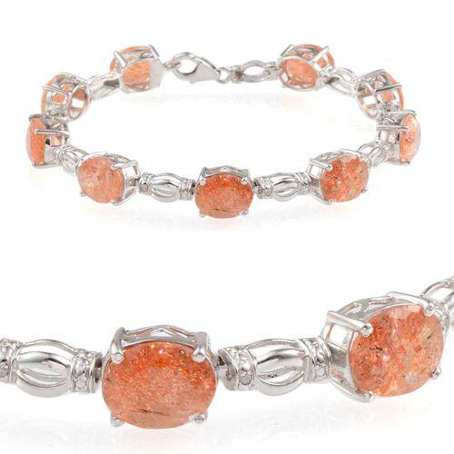 Tanzanian Sun Stone (Ovl), Diamond Bracelet (Size 7.5) in Platinum Overlay Sterling Silver 20.800 Ct.