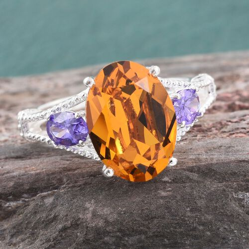 J Francis Crystal from Swarovski - Light Yellow Crystal (Ovl), Simulated Amethyst Ring in Sterling Silver