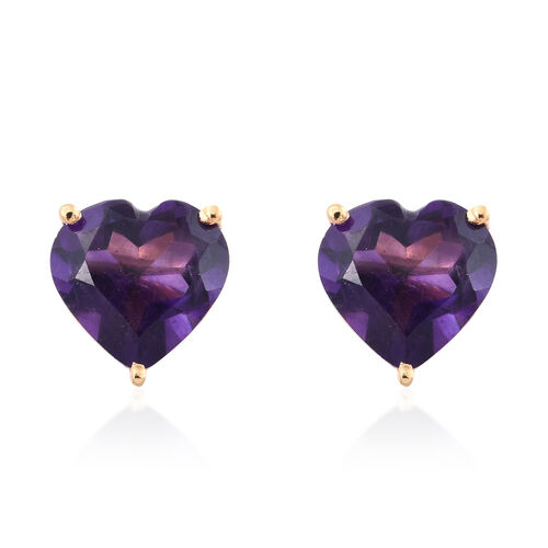Amethyst 2 Ct Heart Silver Stud Earrings (with Push Back) in Gold Overlay