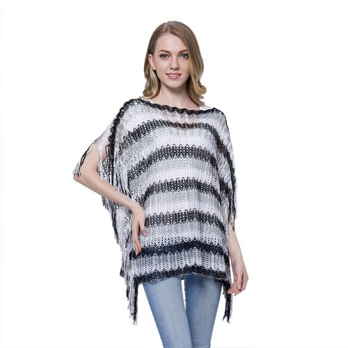 Black, Grey and White Colour Stripe Pattern Poncho (Size 85x55 Cm) and Black Colour Vest (Size 60x55 Cm)