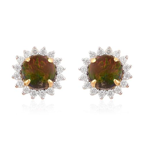 AA Canadian Ammolite (Rnd), White Zircon Stud Earrings (with Push Back) in Yellow Gold Overlay Sterling Silver 2.150 Ct.