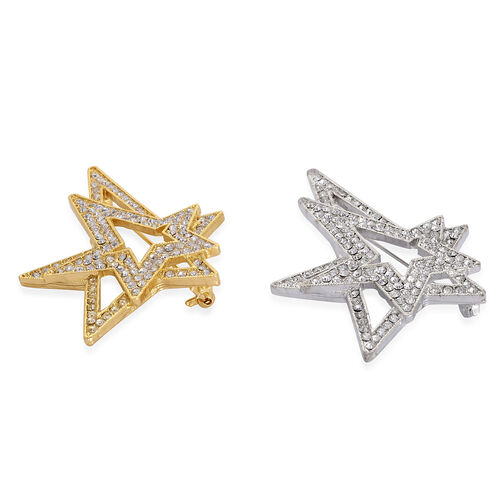 Set of 2 - White Austrian Crystal Star Brooch in Silver and Gold Tone