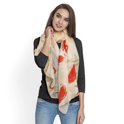 100% Mulberry Silk Orange, Cream and Multi Colour HD Printed Scarf (Size 180x100 Cm)
