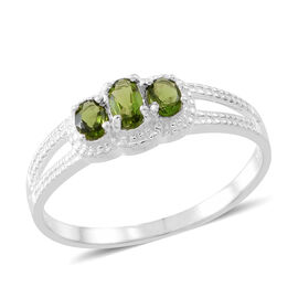 One Time Deal-Russian Diopside (Ovl) 3 Stone Ring in Sterling Silver