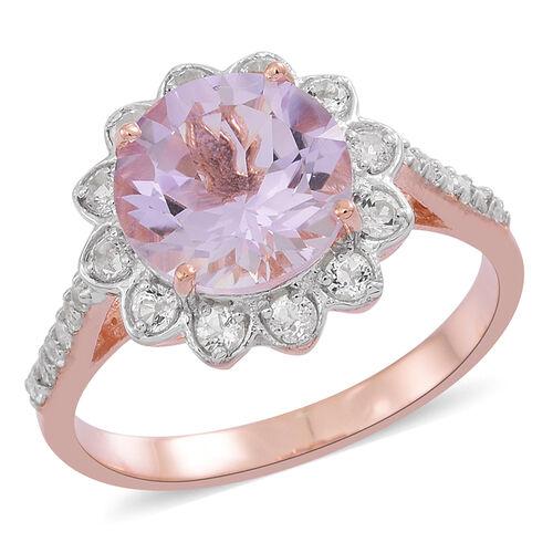 Rose De France Amethyst (Rnd 3.25 Ct), White Topaz Ring in 14K Rose Gold Overlay Sterling Silver 4.000 Ct.