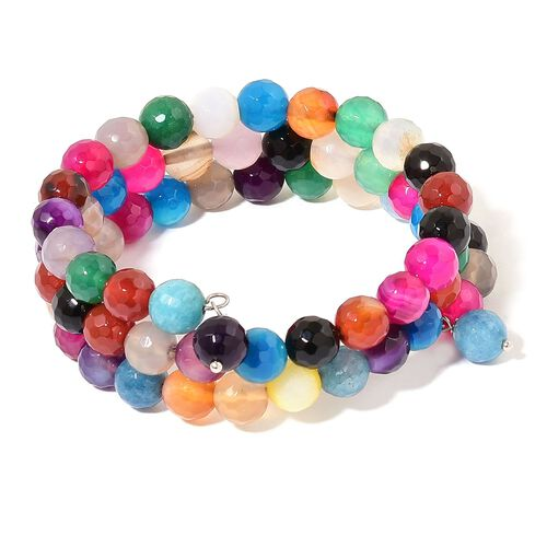 Multi Agate Triple Strand Adjustable Bracelet (Size 6 to 8.5) in Stainless Steel 215.000 Ct.