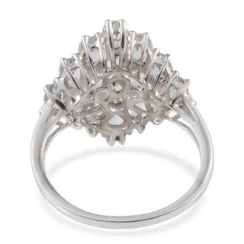 Espirito Santo Aquamarine (Ovl), Diamond Cluster Ring in Platinum Overlay Sterling Silver 3.010 Ct.