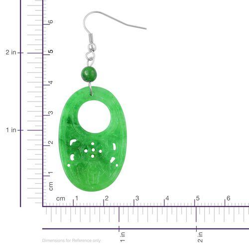 Green Jade Hook Earrings in Hypoallergenic Stainless Steel 40.500 Ct.
