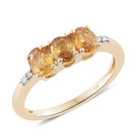 9K Yellow Gold 1.25 Ct AA Yellow Sapphire Ring with Diamond