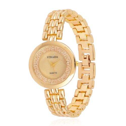 STRADA Japanese Movement Mother Of Pearl Watch in Gold Tone