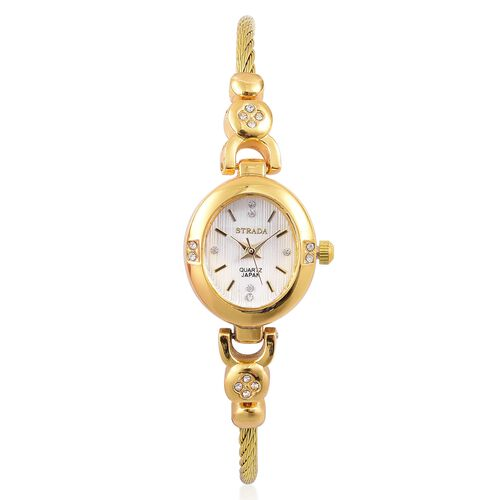 STRADA Japanese Movement White Dial with White Austrian Crystal Watch in Yellow Gold Tone with Rope and Bead Link Strap