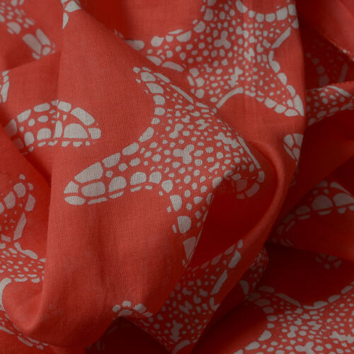 Hand Dyed 100% Cotton Starfish Pattern Red Colour Poncho (Free Size)