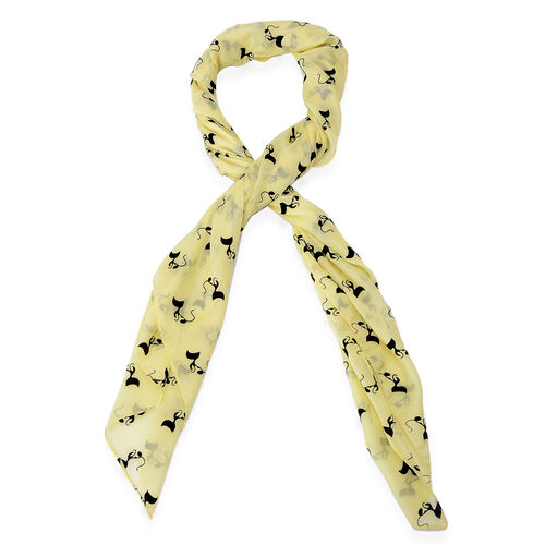 Black Colour Cat Printed Yellow Colour Scarf (Size 95x95 Cm)