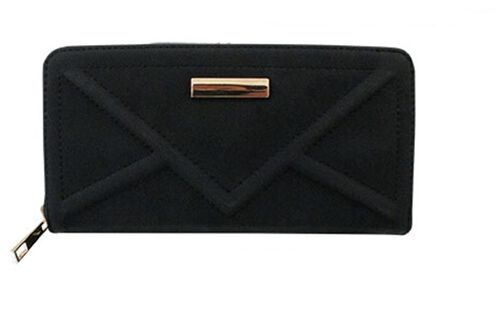Stella Classic Black Textured Suede Look Long Wallet (Size 19x10 Cm)