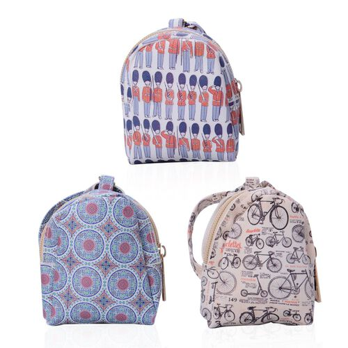 Set of 3 - Multi Colour Circle Pattern, Cream Colour with Black Bicycle Pattern, White with Multi Colour Soldiers Pattern Back Pack Shape Small Coin Bag with Key Chain (Size 10x8 Cm)