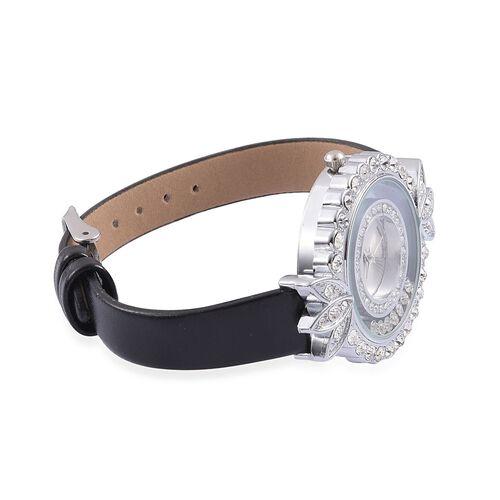 STRADA Floating Austrian Crystal Floral Design Watch - Black