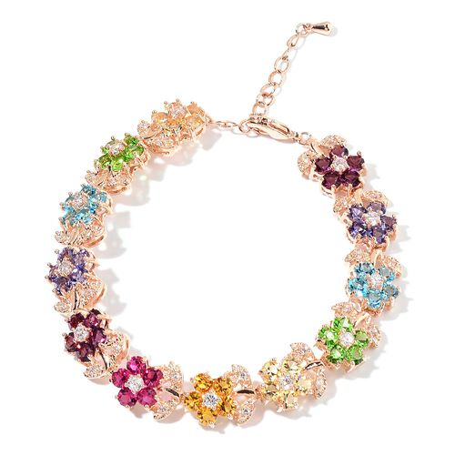 AAA Multi Colour Austrian Crystal and Simulated Diamond Floral Bracelet (Size 7.5 with 1 inch Extender) in Rose Gold Tone
