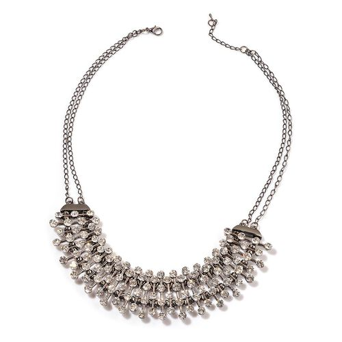 AAA White Austrian Crystal Necklace (Size 20 with 2 inch Extender) in Black Tone