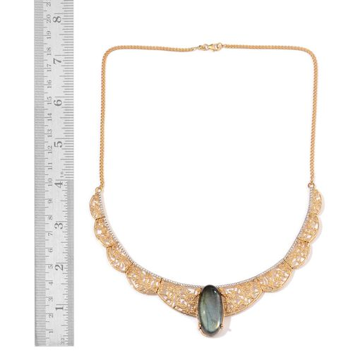 Limited Edition- AAA Labradorite (Ovl) Necklace (Size 18) in 14K Gold Overlay Sterling Silver 25.000 Ct.