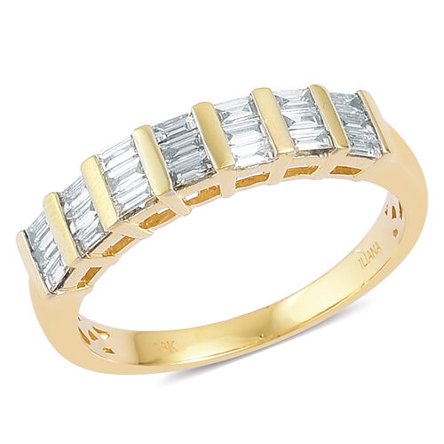 ILIANA 18K Yellow Gold IGI Certified Diamond (Bgt) (SI/G-H) Half Eternity Ring 0.500 Ct.