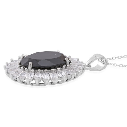 Designer Inspired- Rare Size Boi Ploi Black Spinel (Ovl 15.00 Ct), White Topaz Pendant with Chain in Rhodium Plated Sterling Silver 19.000 Ct.