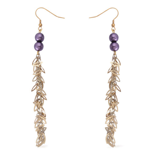 Purple Shell Pearl Hook Earrings in Gold Tone