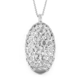 RACHEL GALLEY Rhodium Plated Sterling Silver Charmed Pebble Locket (Size 30), Silver wt 24.72 Gms.