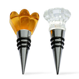 Set of 2 - Yellow and White Austrian Crystal Resin Cone Bottle Stoppers