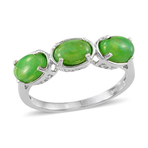 Green Ethiopian Opal (Ovl) Trilogy Ring in Platinum Overlay Sterling Silver 1.750 Ct.