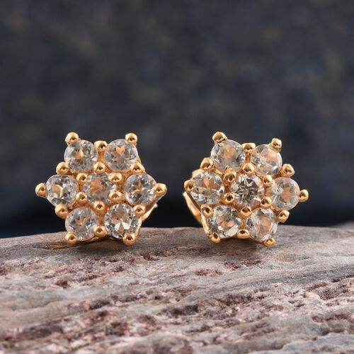 Natural Turkizite (Rnd) Stud Earrings in 14K Gold Overlay Sterling Silver 1.000 Ct.