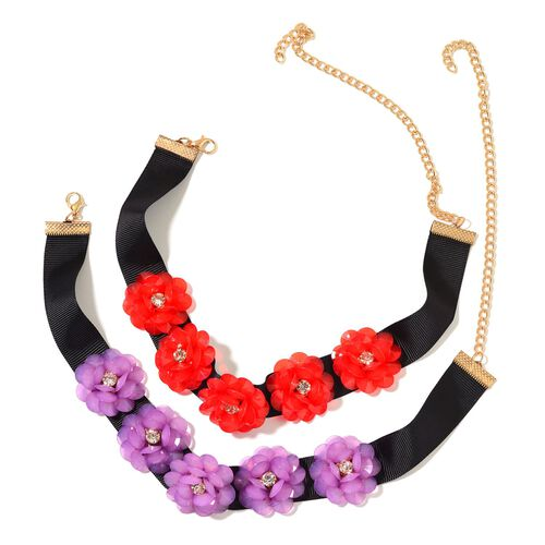 Set of 2 - AAA White Austrian Crystal Red and Purple Colour 3D Floral Necklace (Size 11.5) in Yellow Gold Tone
