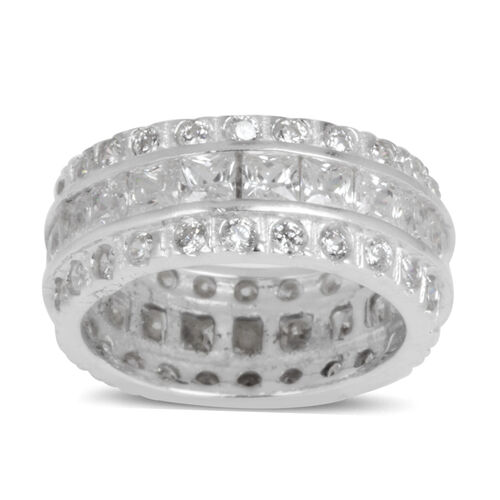 AAA Simulated Diamond (Sqr) Full Eternity Ring in Rhodium Plated Sterling Silver