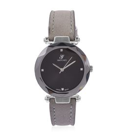 Diamond Studded GENOA Japanese Movement Black Dial Water Resistant Watch in Silver Tone with Grey Strap