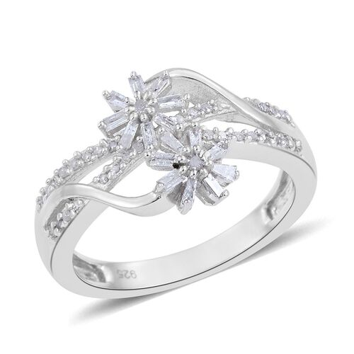 Diamond (Rnd) Twin Floral Ring in Platinum Overlay Sterling Silver 0.330 Ct.