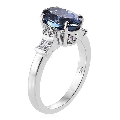 ILIANA Very Rare 3.40 Ct AAA Peacock Tanzanite and Diamond IGI Certified (SI/G-H) Ring in 18K White Gold