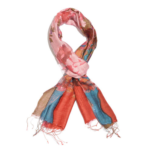 Super Auction- 65% Silk Red, Blue and Multi Colour Artistic Floral Pattern Scarf with Fringes (Size 180x50 Cm)