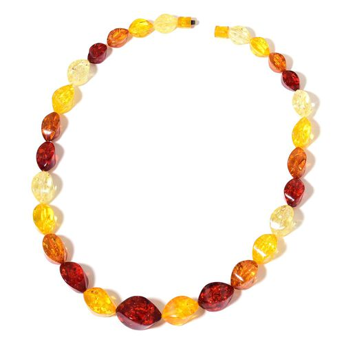 Simulated Amber Necklace (Size 24) and Stretchable Bracelet (Size 7.5)