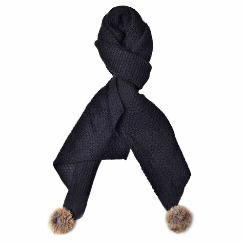 Black Colour Knitted Scarf with 2 Pom Pom (Size 180X33 Cm)