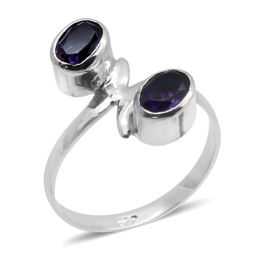 Royal Bali Collection Amethyst (Ovl) Ring in Sterling Silver Ring 1.410 Ct.