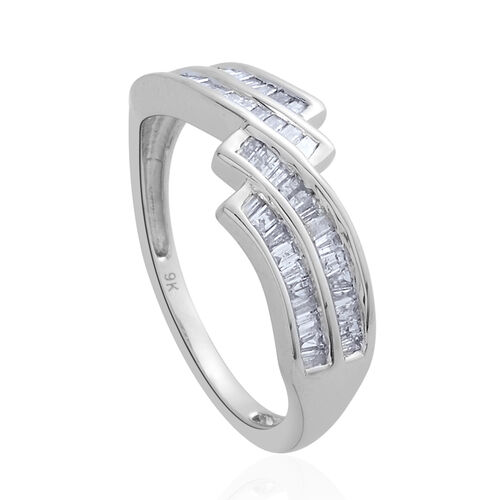9K W Gold SGL Certified Diamond (Bgt) (I 3/G-H) Ring 0.500 Ct.