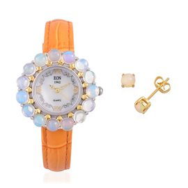 EON 1962 Swiss Movement Ethiopian Welo Opal MOP Dial 3 ATM Water Resistant Watch in Dual Tone and Stud Earrings (with Push Back) in Yellow Gold Overlay Sterling Silver 6.000 Ct.