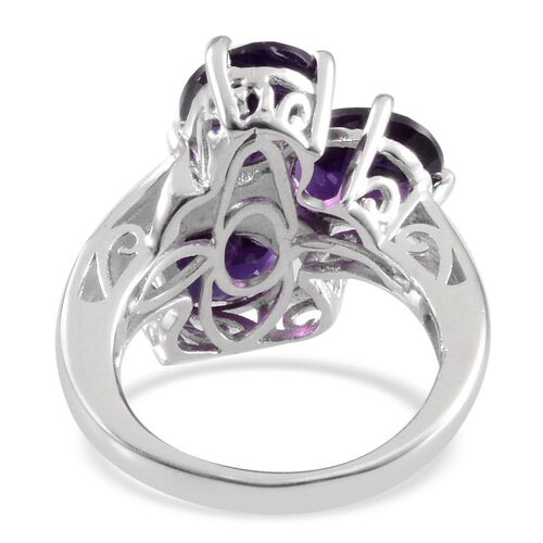 Lusaka Amethyst (Ovl) Trilogy Ring in Platinum Overlay Sterling Silver 5.000 Ct.