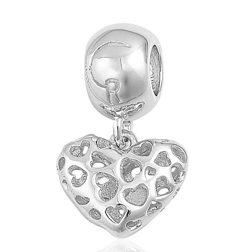 RACHEL GALLEY Rhodium Plated Sterling Silver Lattice Heart Pendant/Charm