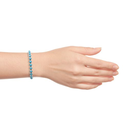 AAA Arizona Sleeping Beauty Turquoise (Rnd), Natural Cambodian Zircon Bracelet (Size 8) in Platinum Overlay Sterling Silver 10.500 Ct, Silver wt 16.50 Gms.