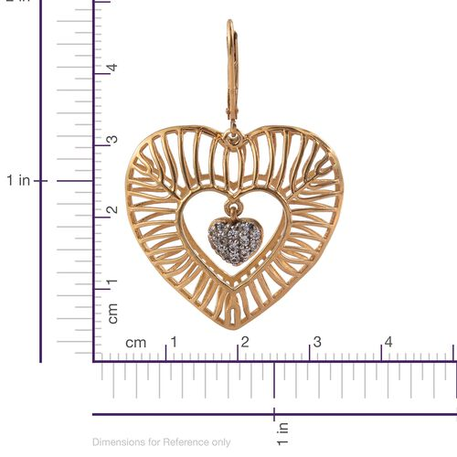 J Francis 14K Gold Overlay Sterling Silver Dangle Heart Earrings Made with SWAROVSKI ZIRCONIA