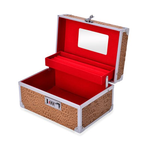 Chocolate Colour 2 Layer Jewellery Box with Coded Lock and Mirror inside (Size 25x14 Cm)