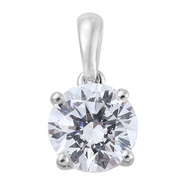 J Francis - 9K White Gold Solitaire Pendant Made with SWAROVSKI ZIRCONIA