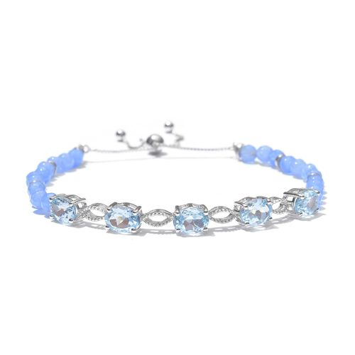 Sky Blue Topaz (Ovl) Adjustable Bracelet (Size 6.5 to 8) in Platinum Overlay Sterling Silver 16.000 Ct.