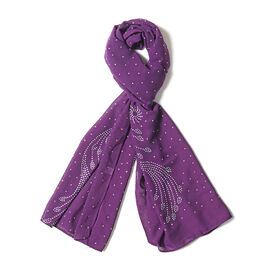 Purple Colour Peacock Tail Feather Pattern Scarf with Crystal Embellishment (Size 157x50 Cm)